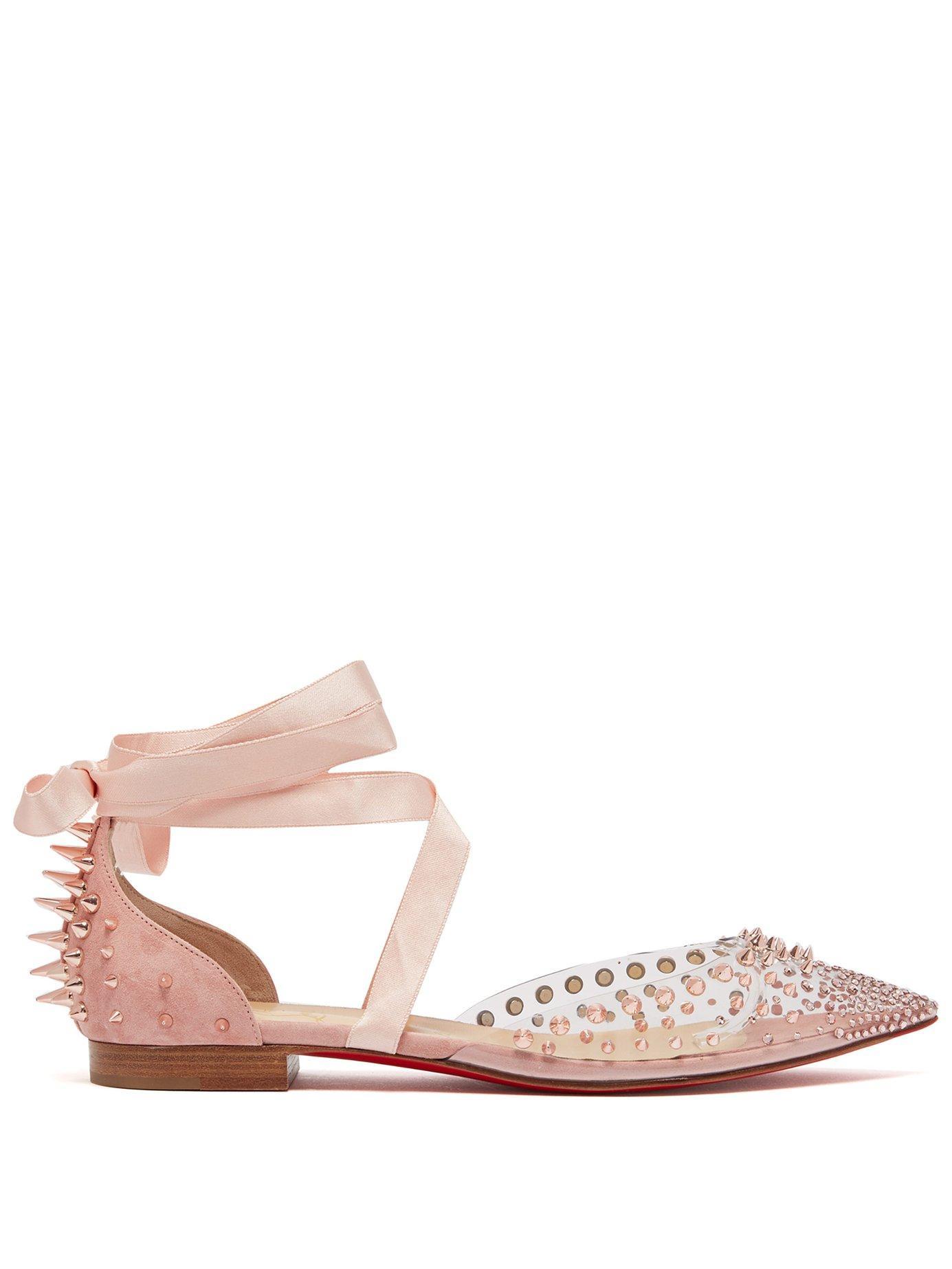 Mechante Reine Crystal And Stud Embellished Flats In Pink