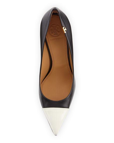 1951788c73a4c Tory Burch Women S Penelope Cap Toe Color-Block Leather Pumps In Perfect  Black Italian