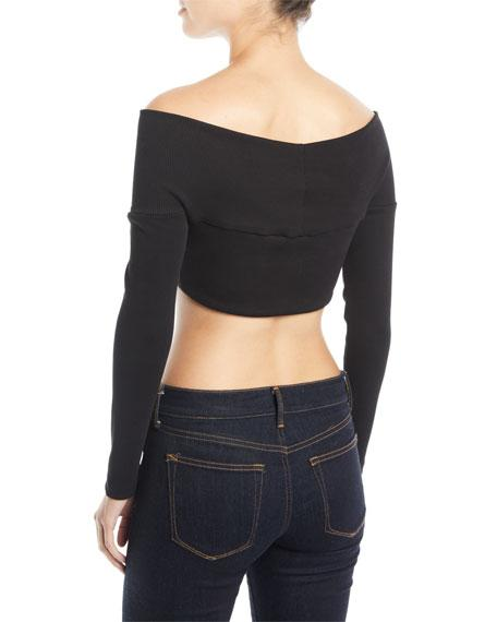91e937dd8ebbff Opening Ceremony Black Off-The-Shoulder Cropped Knit Sweater