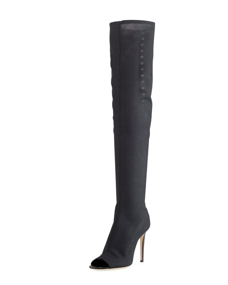 ff2fbe3f6f22 Jimmy Choo Desai 100 Black Fabric Mesh And Nappa Leather Over The Knee Boots