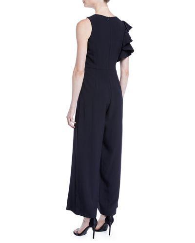 b865c0591a4028 Julia Jordan Ruffle-Shoulder Crepe Wide-Leg Jumpsuit In Black