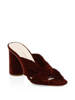 b1a5d76b42d Coco Knotted Velvet Block Heel Mules in Rust