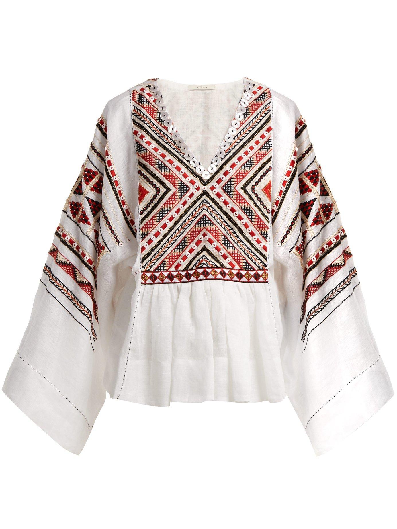 a5b74902 Vita Kin - Malta Embroidered Linen Top - Womens - White Multi | ModeSens