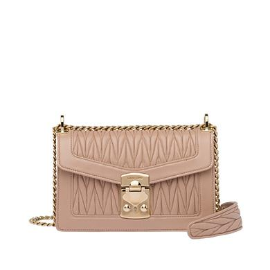 80a95371616a Miu Miu Miu Confidential MatelassÉ Leather Bag In Cameo Beige