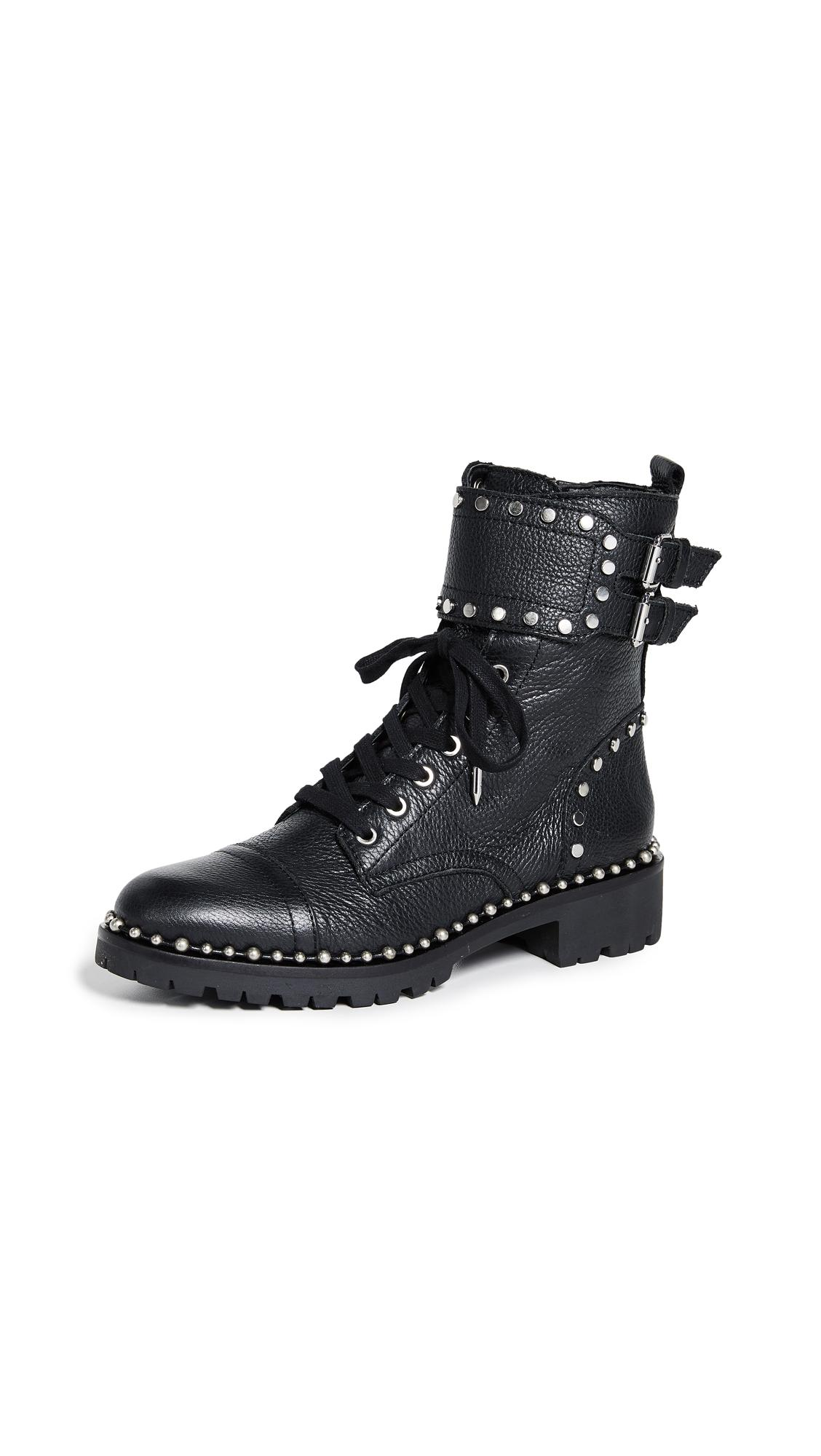 9ad1b3573d624 Sam Edelman Women s Jennifer Studded Leather Combat Booties In Black ...