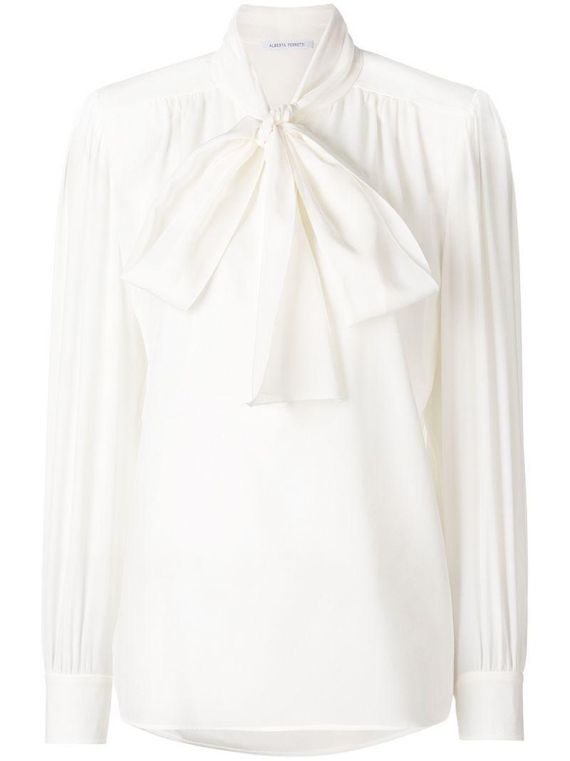 6e03dfe46741b Alberta Ferretti Tie Neck Blouse - White