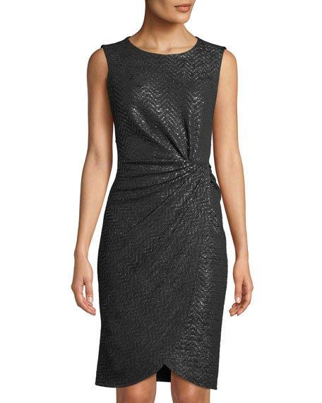 213cd421690 Donna Ricco Shimmer-Knit Knotted Sheath Dress In Black Silver
