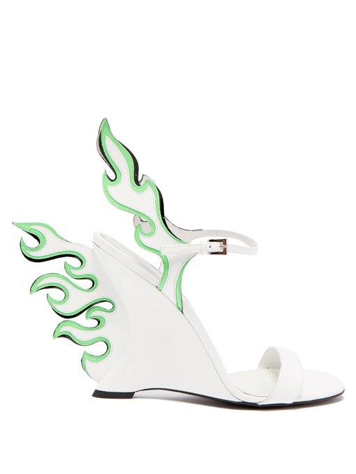Prada Flame Patent-Leather Sandals In Black