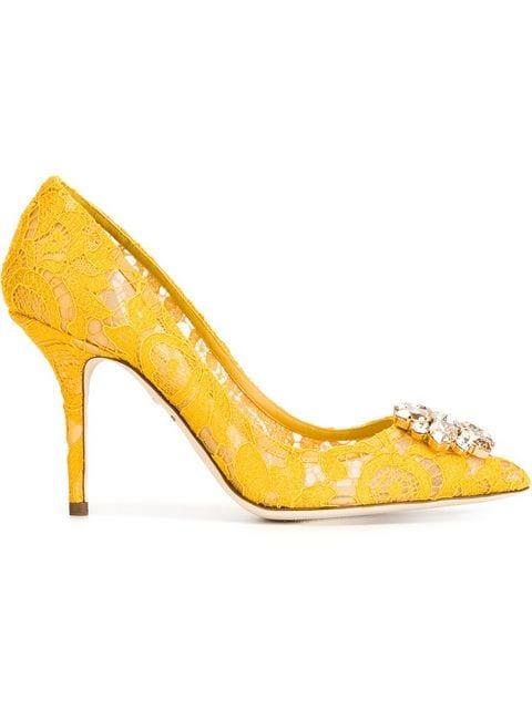 195c311fcc1 Jeweled Lace Pumps in Yellow