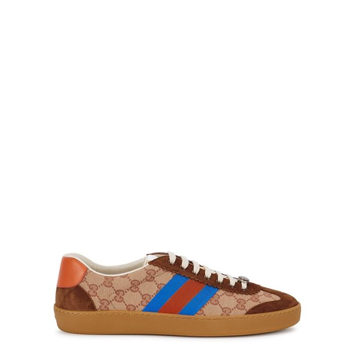 51708cda2eb Gucci G74 Original Gg Sneakers With Web Brick Red Beige In Brown ...