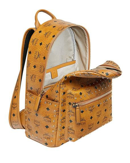 c798cbb3dccb77 Mcm Stark Outline Studs Convertible Visetos Backpack In Cognac ...