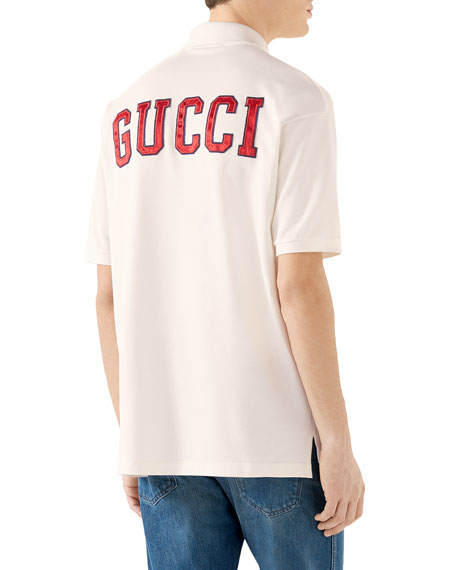 1e08074a793 Gucci Men s Ny Yankees Mlb Polo Shirt With Logo Applique In White ...