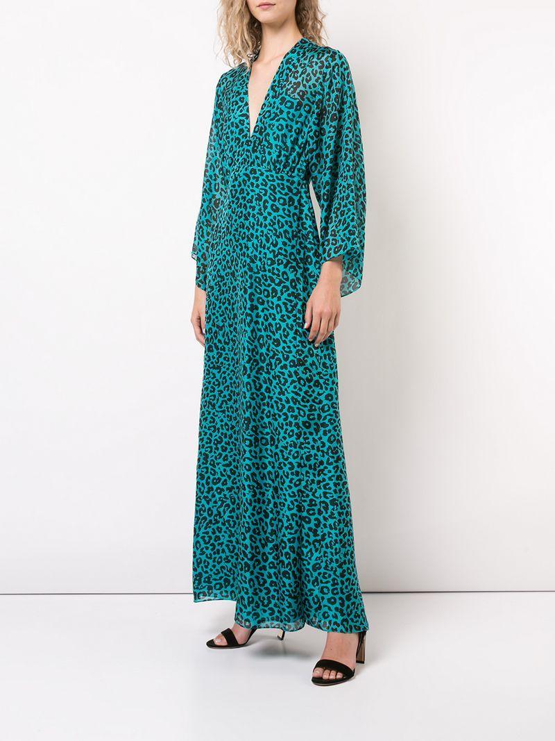 4617afd20d21 Michelle Mason Leopard Print Plunge Gown - Blue   ModeSens
