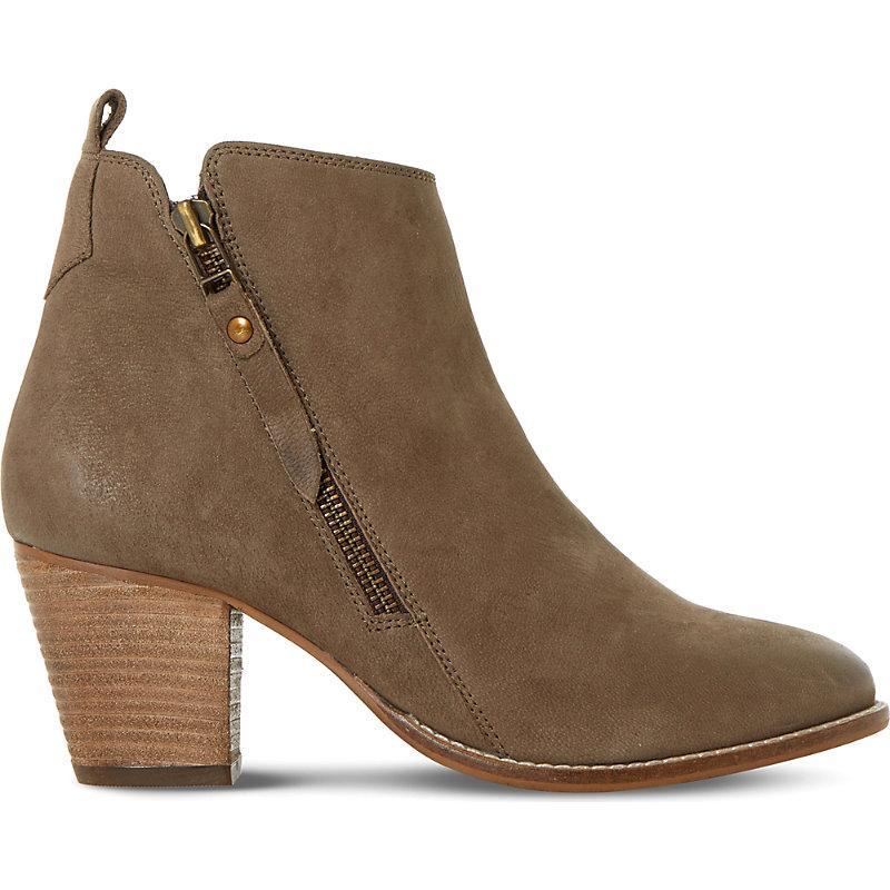 Dune Ladies PONTOON Stacked Heel Side Zip Ankle Boots