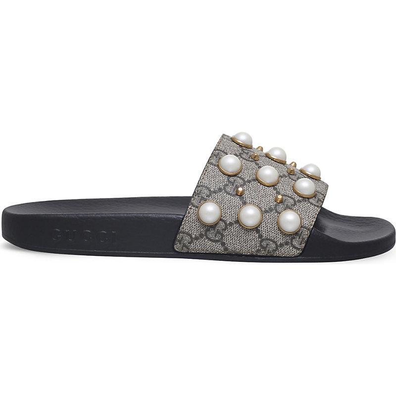Gucci Pursuit Pearl-Embellished Rubber Slider Sandals In Beige Comb
