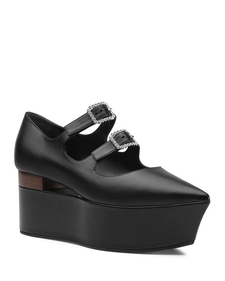 0a1f7923531 Gucci Leather Flatform Mary Jane Pumps In 1000 Nero