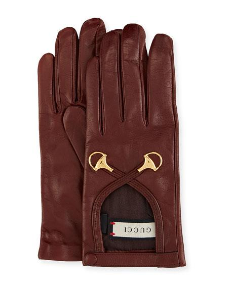 18bd25d7aac Gucci Leather Gloves W  Double Horsebit Detail In Nero