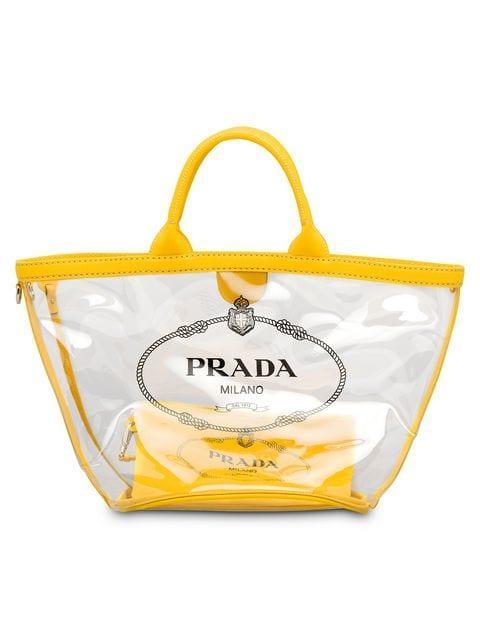 7d4495edbfe5 Prada Transparent Logo Tote - Yellow. Farfetch