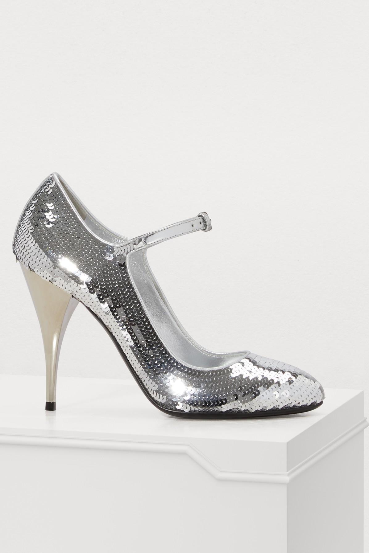 30c9ad90838 Miu Miu Mary Jane Pumps In Silver