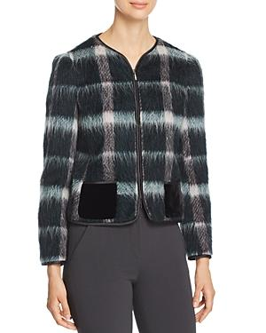 08d40146ad Zip-Front Plaid Mohair Jacket W/ Velvet Pockets in Pattern