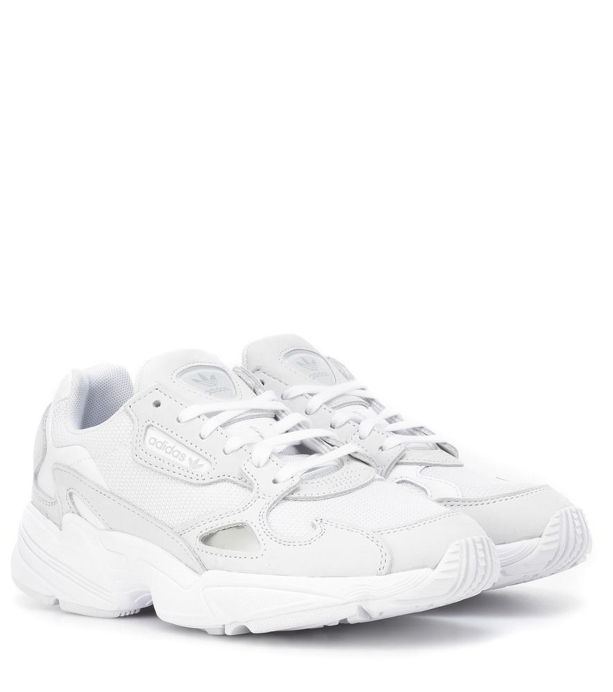 reputable site 9d026 8c6a4 Adidas Originals Falcon Suede-Trimmed Sneakers In White
