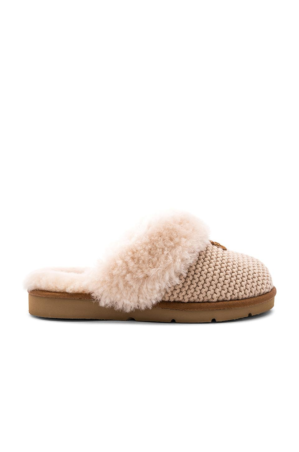 Ugg Cozy Knit Slippers With Sheepskin In Cream  f935ddb00