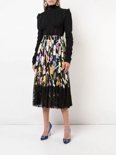 143e253501 Dolce & Gabbana Floral-Print Silk Charmeuse Pleated Skirt W/ Lace Hem In  Black