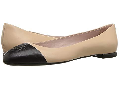 b61f4e1b78a Taryn Rose Women s Rosa Leather Cap Toe Ballet Flats In Beige Black Nappa
