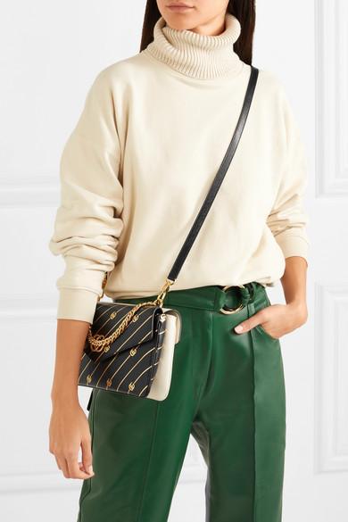 fc164e292b8 Gucci Thiara Embellished Printed Leather Shoulder Bag In White ...