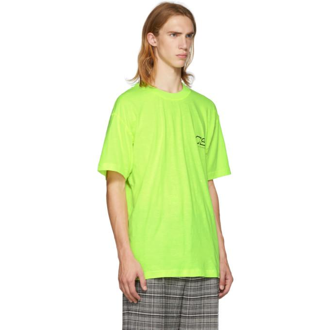 fb1ec37bc15 Cmmn Swdn Ridley Logo-Print Neon Cotton-Jersey T-Shirt In Acid Yellow