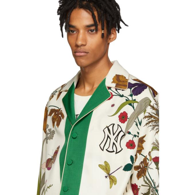 a796ad106 Gucci New York Yankees Gothic Print Shirt In Beige In 3067 Flora ...
