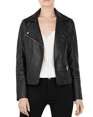 4cde2a97bf94 Ted Baker Lizia Minimal Biker Jacket In Black