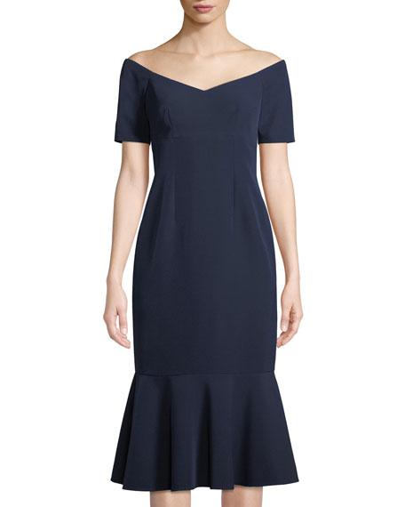 8fafd158 Maggy London The Lucy Off-The-Shoulder Flounce-Hem Crepe Cocktail Dress In