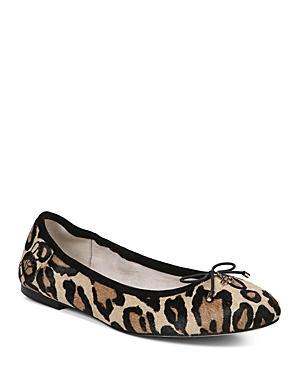50b315c36a98 Sam Edelman Women s Felicia Round Toe Leopard-Print Calf Hair Ballet Flats  In New Nude
