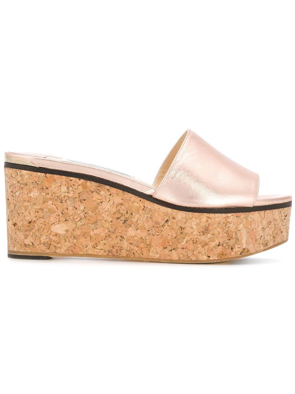 da4ff3617c4 Jimmy Choo Deedee 80 Tea Rose Metallic Nappa Leather Sandal Wedges In Pink