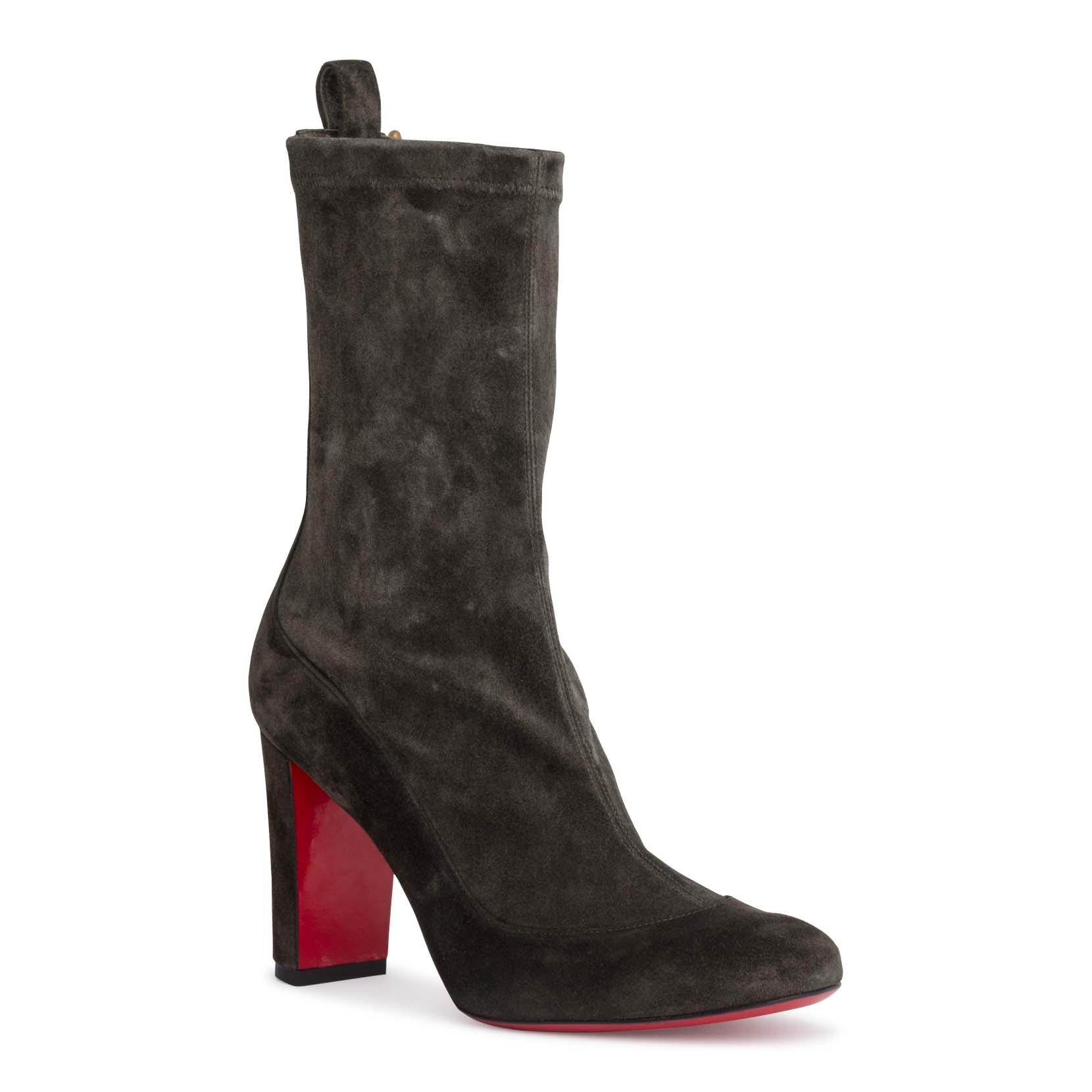 f6d88490763f Christian Louboutin Gena 85 Khaki Stretch Suede Boots In Brown ...