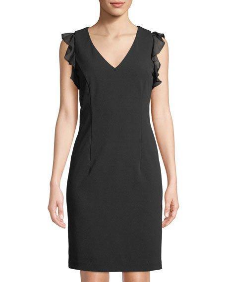 d0476f55 Donna Karan V-Neck Ruffle-Shoulder Sheath Dress In Black | ModeSens