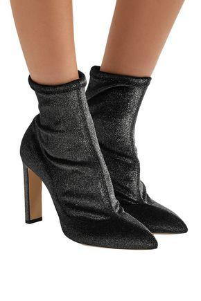 Jimmy Choo Louella 85 Anthracite Stretched Metallic Velvet Boots In Grey