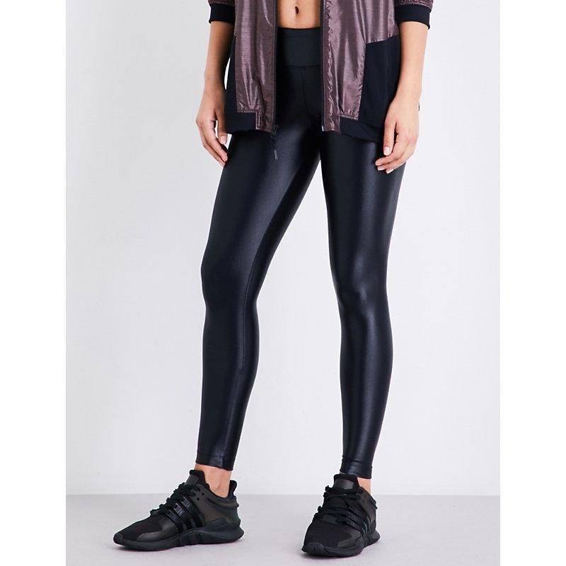 7373828a0aeee Koral High Shine Womens Black Knitted Lustrous High-Shine Leggings ...