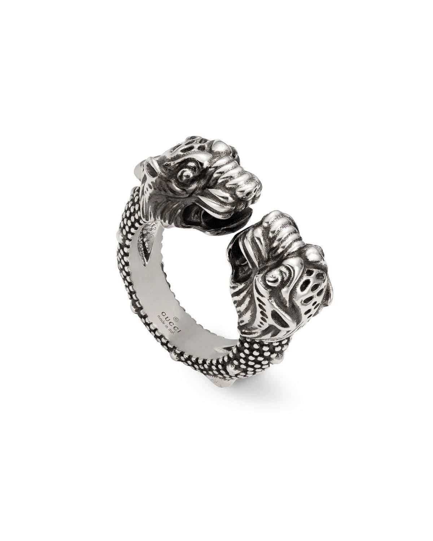 c545c9d2450 Gucci Men s Siamese Snake Tiger Head Ring In Metallic