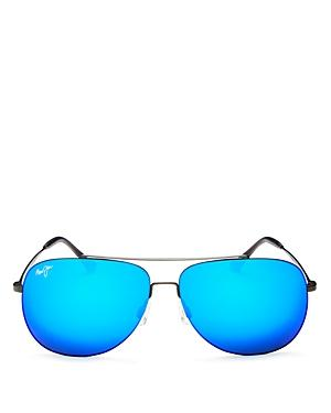 1a6fdcba29 Maui Jim Cinder Cone 58Mm Polarizedplus2 Aviator Sunglasses - Satin  Gunmetal/ Blue Hawaii