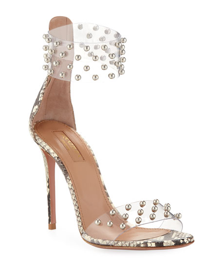 1e20467eee8 Illusion Mid-Heel Clear Ankle-Wrap Sandal in Neutrals