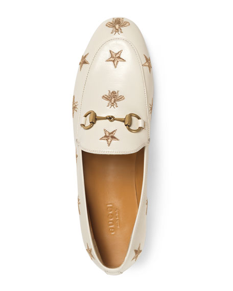 Gucci Women's Jordaan Embroidered Leather Loafers In White