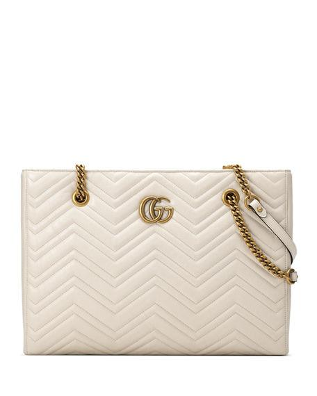 2917327f42e6 Gucci Gg Marmont 2.0 Matelasse Medium Leather East/West Tote Bag - White In  Mystic