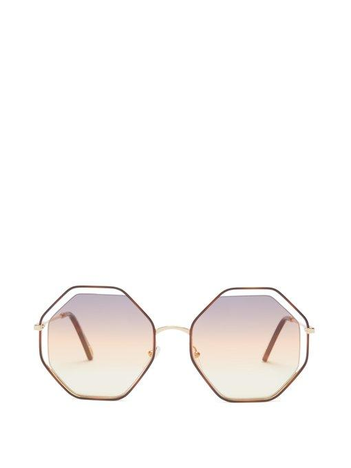 4d7d412e4b6 ChloÉ Poppy Octagon-Frame Sunglasses In Orange Multi