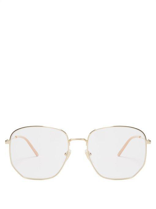 96c2b4c411 Gucci Square-Frame Metal Glasses In Gold