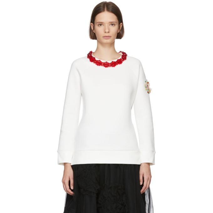407c76bf0 4 Moncler Simone Rocha Jewel Collar Sweater in 034-White