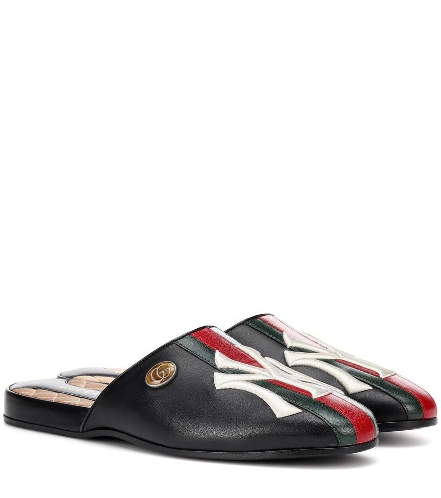 1a73b294dfa Gucci Women s Slipper With Ny Yankees Trade  Patch In Black