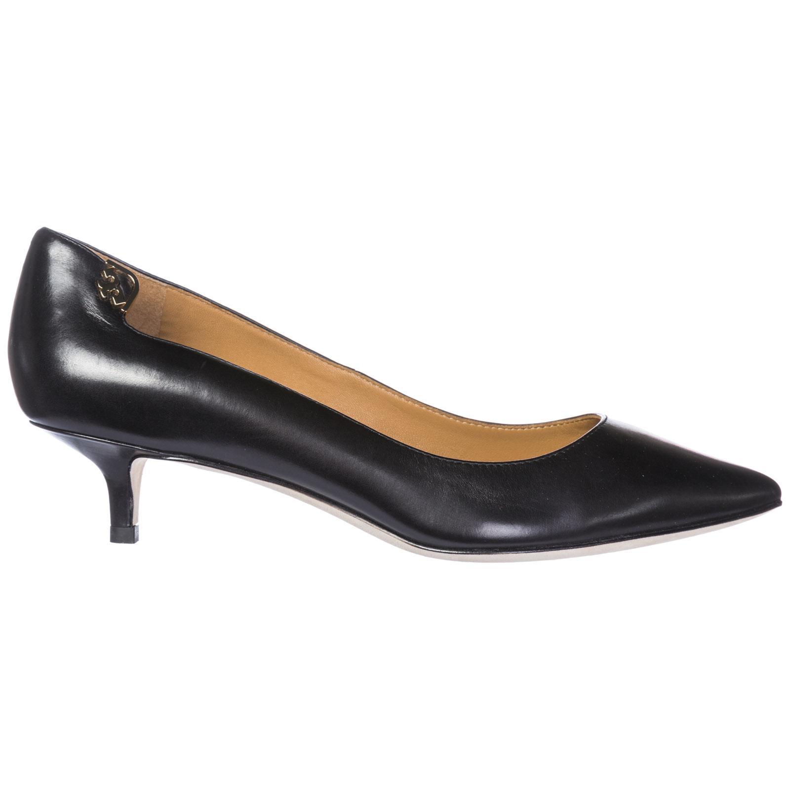 dd545d8c6255 Tory Burch Women s Leather Pumps Court Shoes High Heel Elizabeth In Black