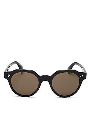3956d6ab1cb Oliver Peoples Irven Faceted Round Acetate Sunglasses In Black ...